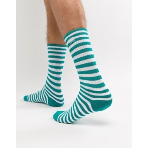 Obey Dale striped socks in white