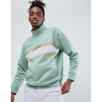 Obey Gaze 1/2 zip mock neck sweatshirt in green