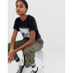 Obey kick flare pants in leopard print