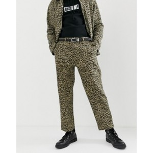 Obey Leopard Print Labor Carpenter Trousers