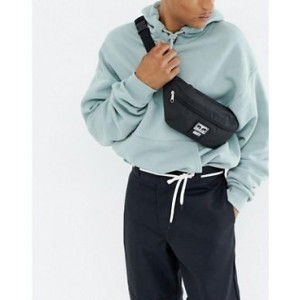 Obey patched daily sling bag in black