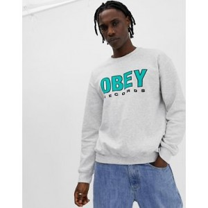 Obey Records Sweatshirt In Ash Grey