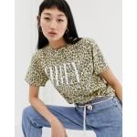 Obey relaxed t-shirt with front logo in leopard print