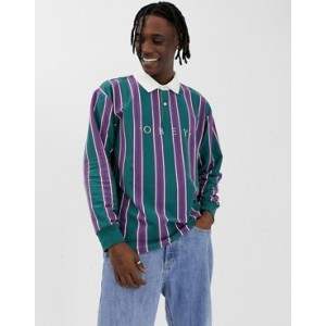 Obey Script Striped Long Sleeve Polo In Teal