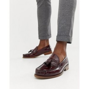 Office Invasion tassel loafers in burgundy high shine