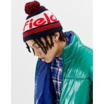 Penfield Sandford bobble logo beanie in navy/red