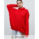 PrettyLittleThing cable sleeve knitted sweater in red