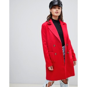 PrettyLittleThing double breasted coat in red