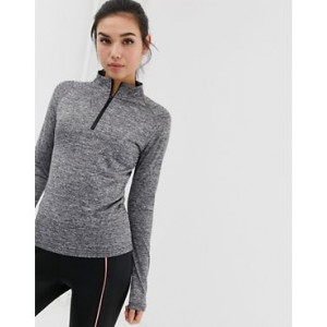 PrettyLittleThing gym top with zip detail in gray marl