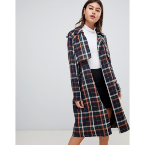 PrettyLittleThing oversized trench in check