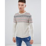 Pull&Bear Fair Isle Sweater In Ecru