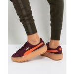 Puma Trace Platform Sneakers In Burgundy And Orange
