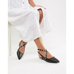 Raid Beryl black studded cross strap pointed shoes