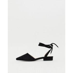 RAID Jennie black ankle tie flat shoes