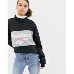 Reebok Classics black vector logo half zip sweatshirt