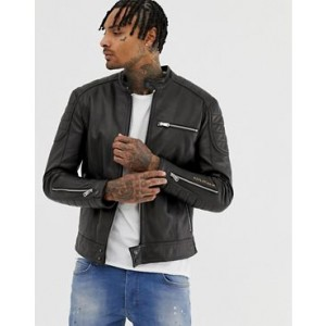 Replay leather biker jacket in black