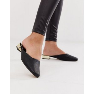 River Island backless loafer with metallic heel in black