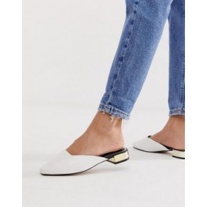 River Island backless loafer with metallic heel in white