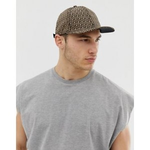 River Island baseball cap with monogram in brown