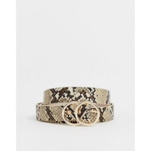 River Island belt with double circle buckle in snake print