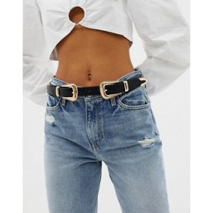 River Island belt with double western buckle in black