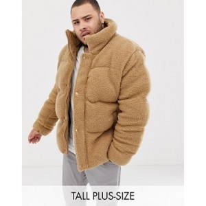 River Island Big & Tall borg puffer jacket in brown