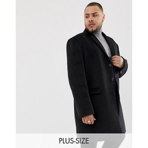 River Island Big & Tall button up overcoat in black