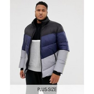 River Island Big & Tall coat with reflective color block in navy