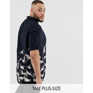 River Island Big & Tall crane print shirt in black