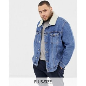 River Island Big & Tall denim jacket with fleece collar in blue