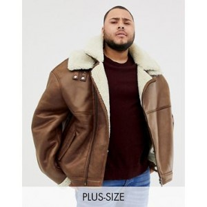 River Island Big & Tall faux leather fleece lined biker jacket in tan