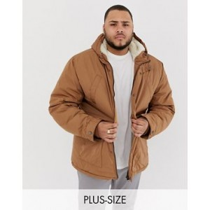 River Island Big & Tall fleece lined parka jacket in brown
