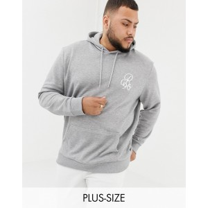 River Island Big & Tall hoodie with motif in gray marl
