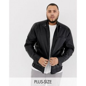 River Island Big & Tall racer jacket in black