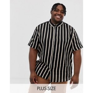 River Island Big & Tall shirt with black and tan stripes