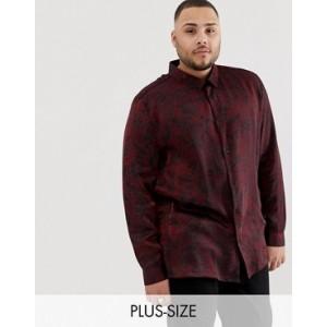 River Island Big & Tall shirt with metallic print in red
