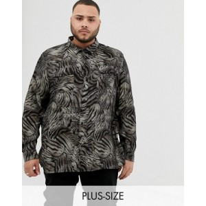 River Island Big & Tall shirt with tiger print in tan