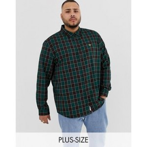 River Island Big & Tall shirt with wasp embroidery in green check