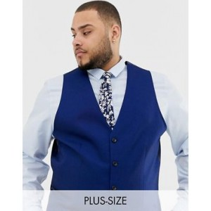 River Island big & tall suit vest in bright blue