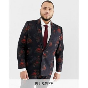 River Island Big & Tall wedding suit jacket in dark floral print