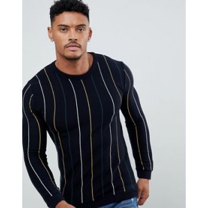 River Island crew neck sweater in navy stripe