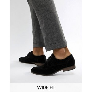 River Island faux suede wide fit brogues in black