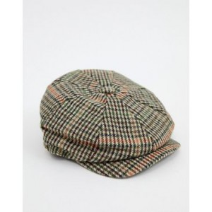 River Island flat cap in large brown check
