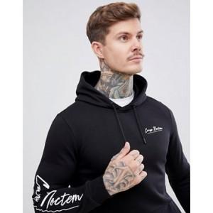 River Island hoodie with carpe noctem print in black