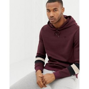River Island hoodie with colour block sleeves in dark red