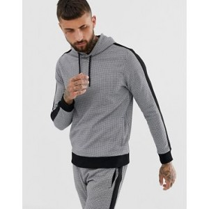 River Island hoodie with dogtooth print in black