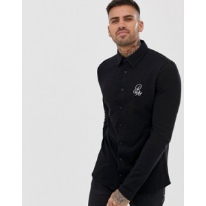 River Island jersey shirt with motif in black