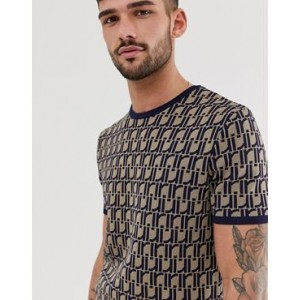 River Island knitted t-shirt with all over logo in navy