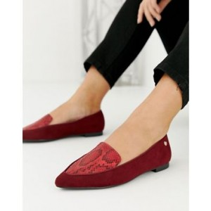 River Island wide fit loafers with pointed toe in red snake print