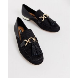 River Island loafers with tassel detail in black
